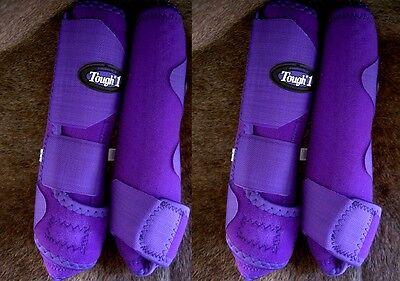 Tough 1 Extreme Vented Sports Medicine Splint Boots Horse Purple Front & Rear M