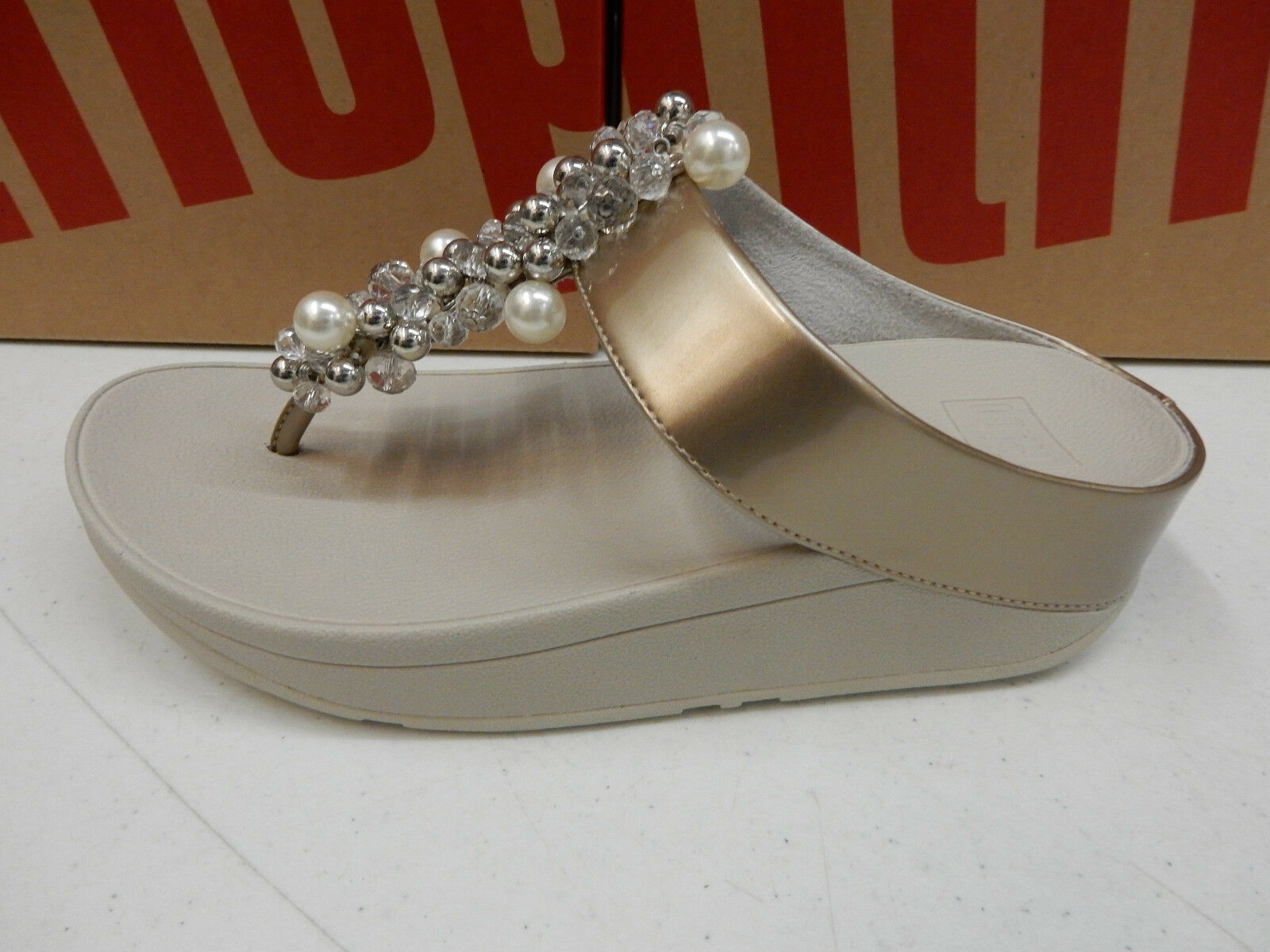 FITFLOP Damenschuhe DECO TOE 8 THONG SANDALS SILVER SIZE 8 TOE 4df33e