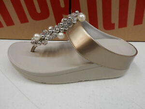 831d24765390bd Image is loading FITFLOP-WOMENS-DECO-TOE-THONG-SANDALS-SILVER-SIZE-