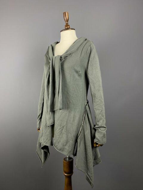Rundholz Black Label Women Lagenlook Khaki Merino Wool Midi Dress Designer Sz L