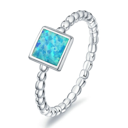 Real 925 Sterling Silver Square Blue Fire Opal Band Ring Size 6-8 for Women