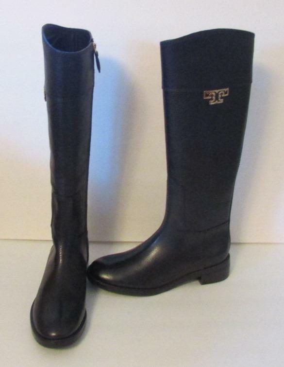 Tory Burch Joanna Black riding boot zipper leather 8.5 tumbled logo gold new