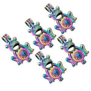 5PC Rainbow Color 3D Frog Pearl Beads Cage Locket Pendant For DIY Necklace Gift