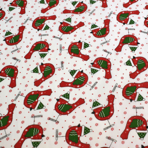 Quirky Birds Christmas Festive Polycotton Fabric