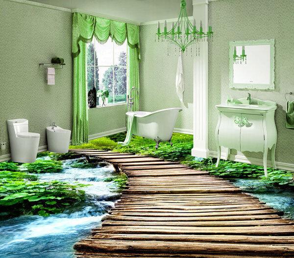3D Wood Bridge Forest Creek Floor Mural Photo Flooring Wallpaper Print Home Deca