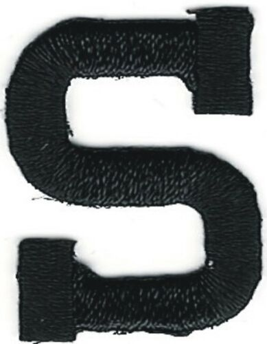 "1/"" Tall Black Monogram Block Letter S Embroidery Patch"