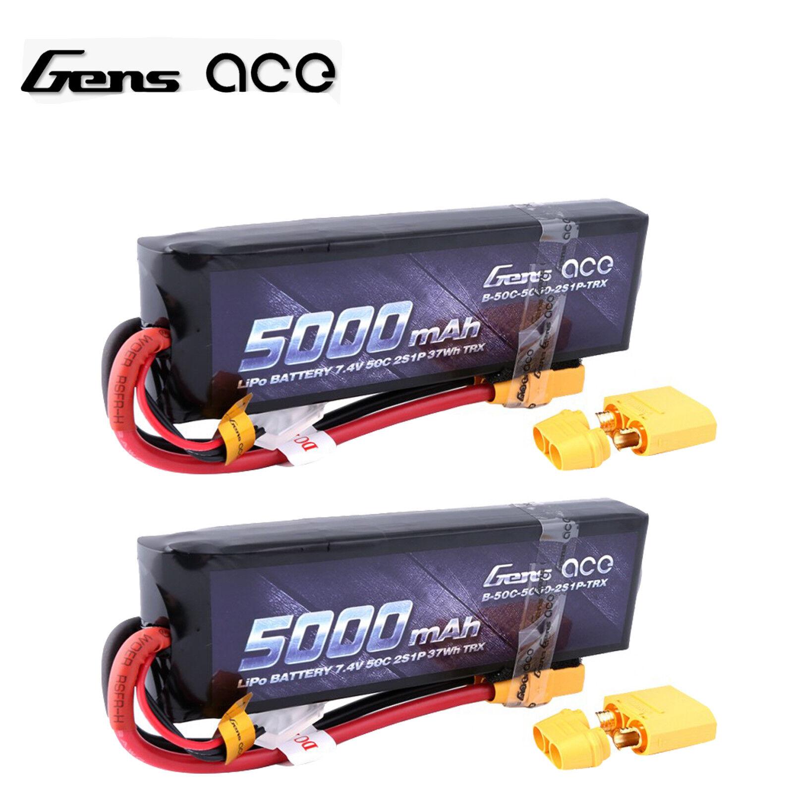 2X 2X 2X 5000mAh 7.4V 2S 50C Lipo Batería XT90 Plug Para RC Coche Traxxas Slash 4X4 d01cdd
