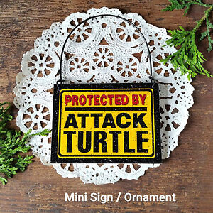 DECO-Mini-Sign-Wood-Ornament-Protected-by-ATTACK-TURTLE-Plaque-Turtle-Gift-USA