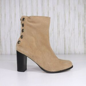 New Musse and Cloud Tan Suede Ankle Boots Size 10 Womens Back Zipper Heel nwot