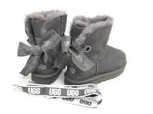 cc716a27aad Details about UGG Australia Customizable Bailey Bow Mini Shearling Boots  Charcoal 1100212 ~