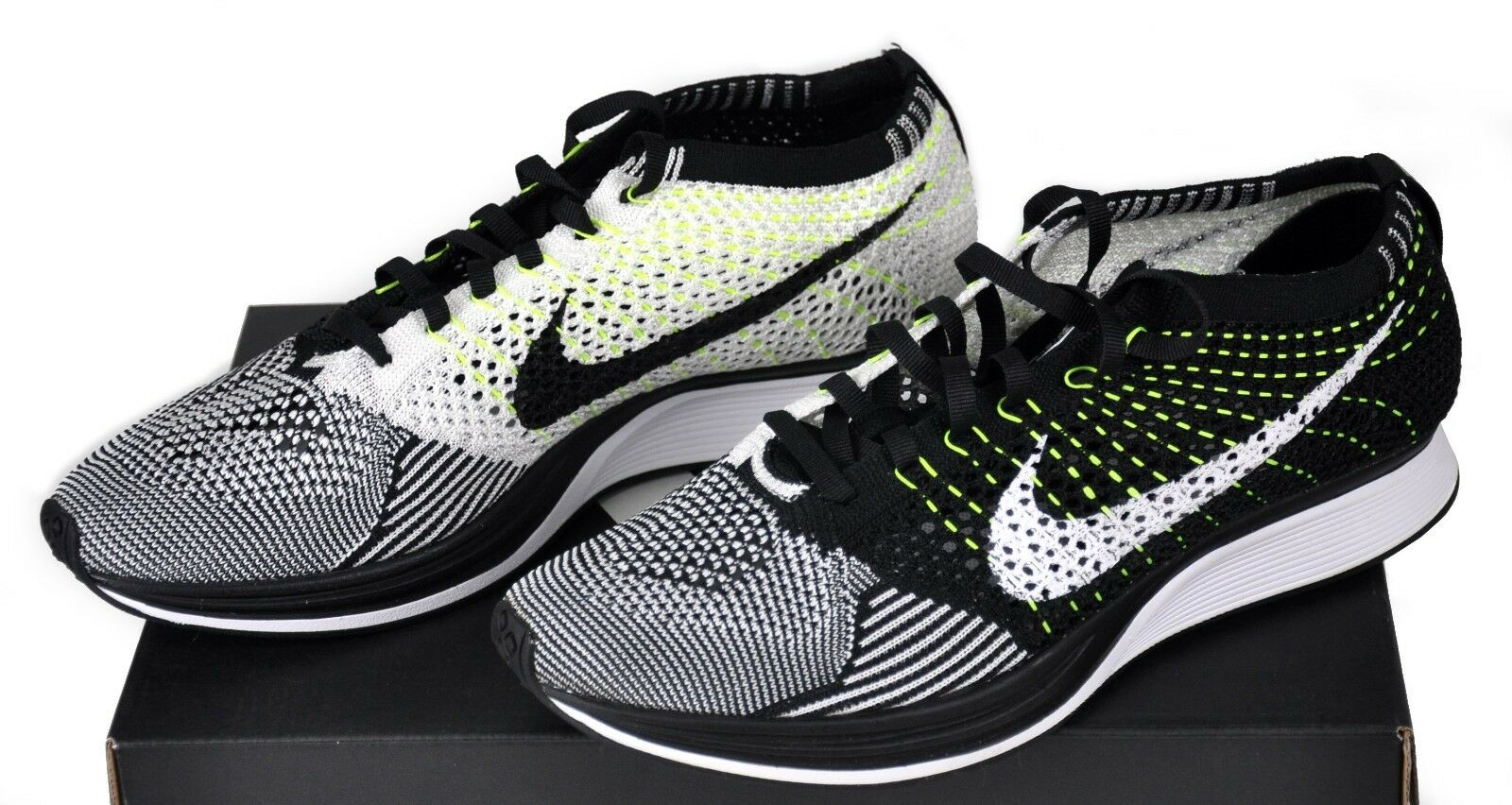 Nike Flyknit Racer Running Oreo Volt Black 526628-011 Men 6.5, 7 Womens 8, 8.5 Cheap women's shoes women's shoes