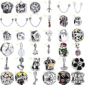 European-Silver-Charms-Beads-Pendant-Safety-Chain-Fit-925-sterling-Bracelet