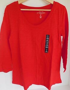 NWT-Gap-Women-039-s-Easy-Aline-T-Shirt-Top-3-4-Sleeve-Red-Size-XS-Free-Ship-New