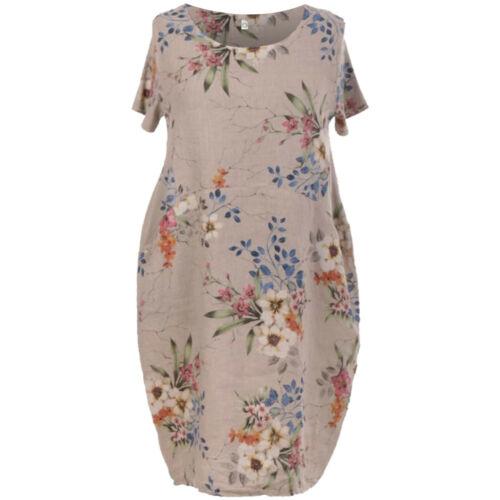 Italian Design Ladies Floral Print Linen Ribbed Top Womens Lagenlook Dress Shirt