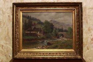 Quadro dipinto a olio su tela di fine \'800 raffigurante paesaggio ...