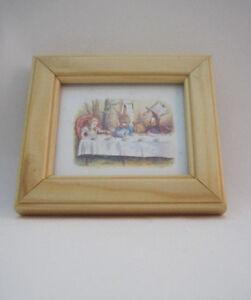Alice-In-Wonderland-Tea-Party-Mini-Framed-Print-Woodne-Clip-Free-P-amp-P