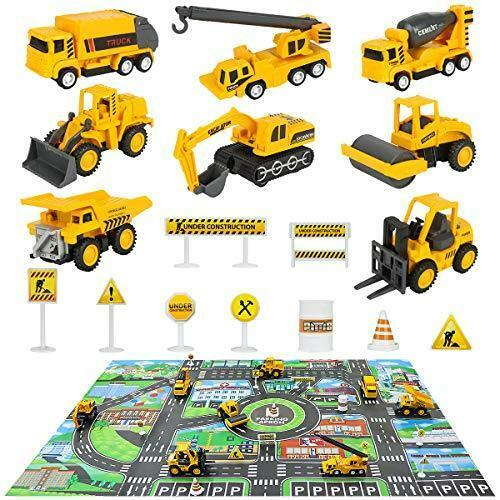 8 Mini Engineer Diecast Construction Vehicles Truck Toys Set with Play Mat