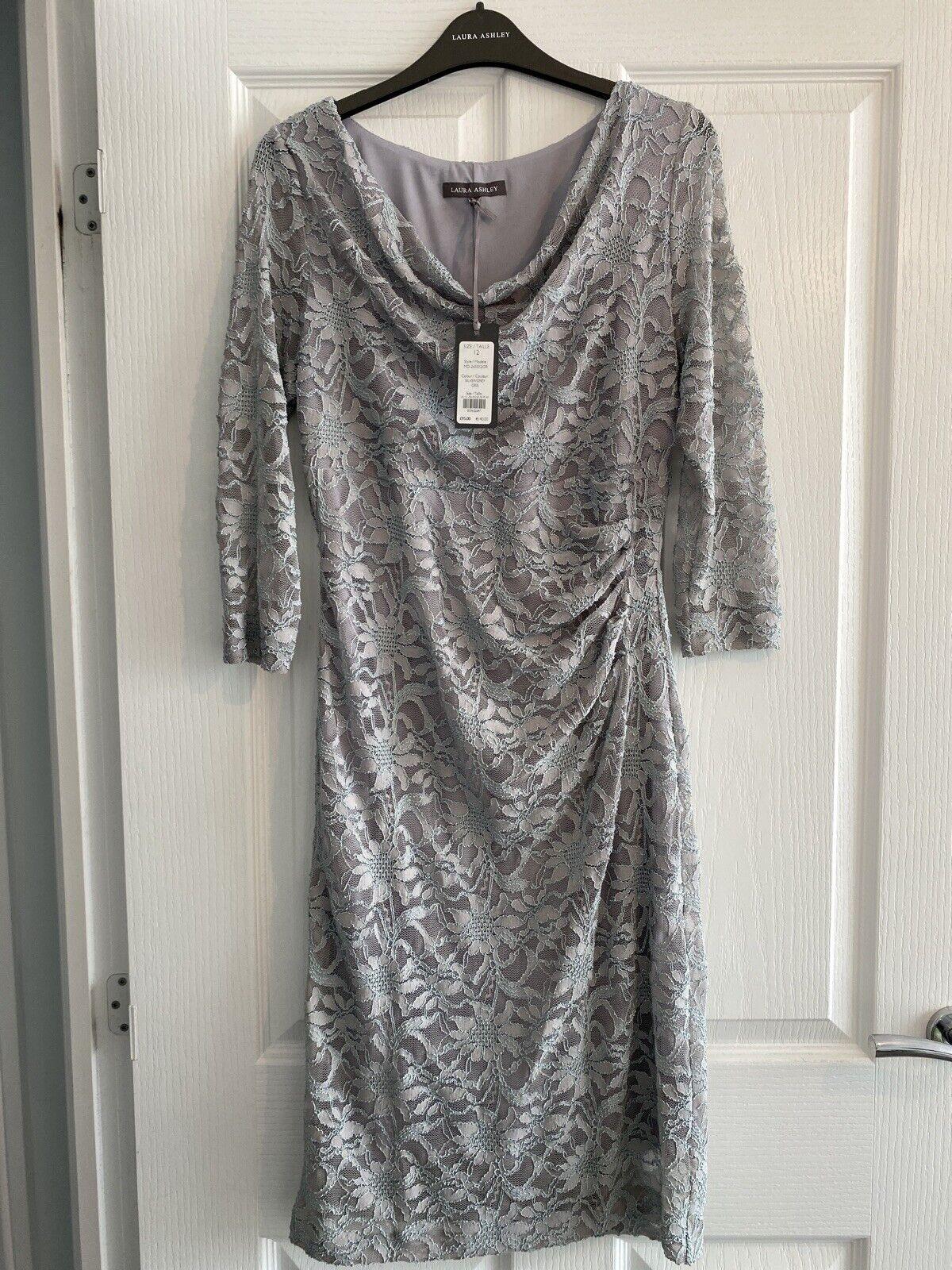 Laura Ashley Silver Grey Lace 3/4 Sleeve Wedding Occasion Dress Size 12.BNWT