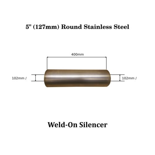 """5/"""" x 16/"""" Weld On Stainless Steel Silencer Exhaust Box Body Big Bore 102mm 4/"""""""