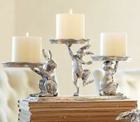 Pottery Barn Easter Bunny Nickel Multi Pillar Holder Candle 3 Bunnies