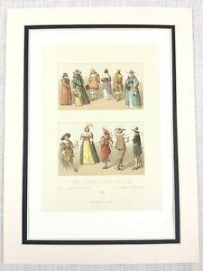 1888-Antico-Stampa-Olandese-Costumi-17th-Secolo-Holland-Tradizionale-Moda-Abito