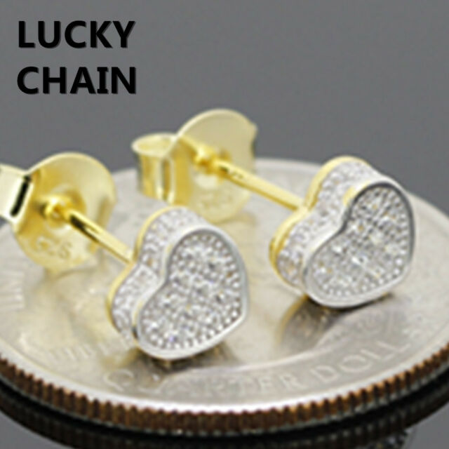 925 STERLING SILVER LAB DIAMOND HEART SHAPE GOLD STUD EARRING 6mm R594