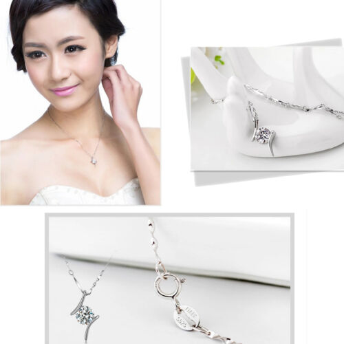 Subtle Women/'s 925 Silver Crystal Rhinestone Pendant Sophisticated Necklace