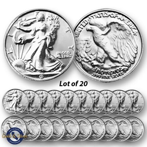Lot of 20 New 1//10 oz Liberty Design .999 Fine Silver Rounds