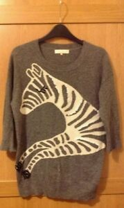 Miso-Grey-Sequin-Zebra-Jumper-Size-10