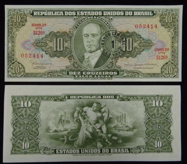 BRAZIL BRASIL Paper Money 1 on 10 Cruzeiros 1962 UNC