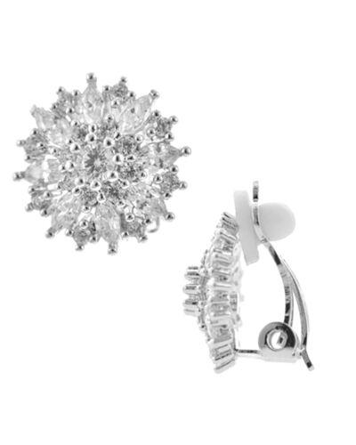 Luxus Ohrclips Clips Clip Ohrrringe Kristall Zirkonia Klar Weiß Gold 1,5 cm