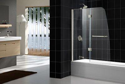 "AQUA Frameless Hinged Tub Door (48""x58""); Finish: Chrome; Glass: Clear 1/4"
