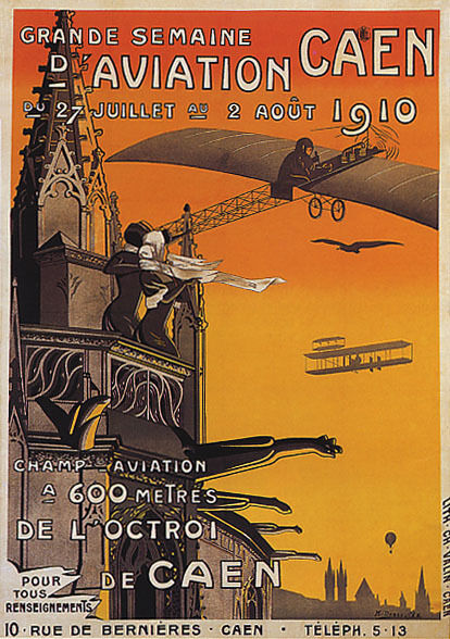 1910 GRANDE SEMAINE AVIATION SHOW AIRPLANE CAEN FRANCE VINTAGE POSTER REPRO