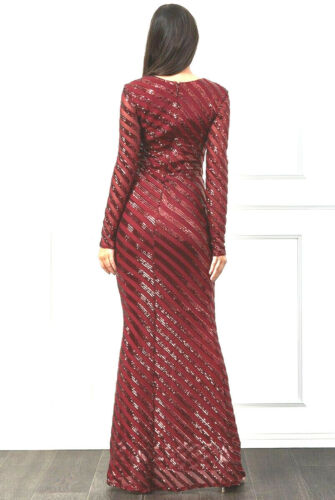 NEW SPARKLIN LONG SLEEVE V-NECKLINE SEQUINS MAXI MERMAID DRESS GOWN UK SIZE 8-16