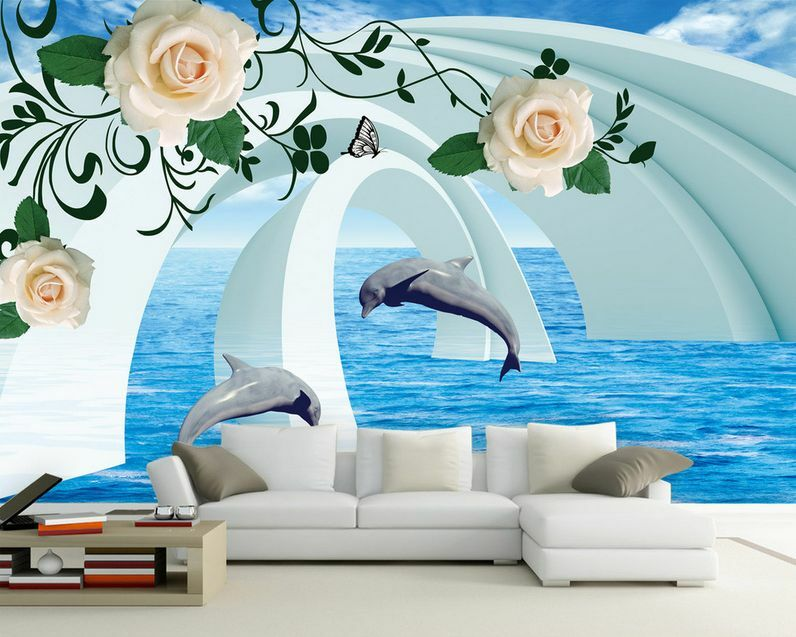 3D Dolphins Flowers And Arches 35 Wall Paper Wall Print Decal Wall AJ Wall Paper