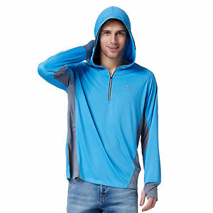 Mens quick dry sun protection fishing hoodie shirt long for Sun protection golf shirts