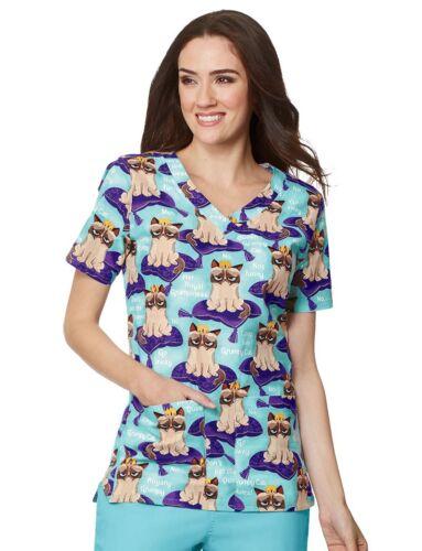 {XS} Medical Uniform Top Grumpy Cat Rules Veterinarian Scrub Top