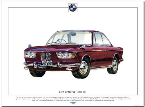 BMW 2000C // 2000CS Fine Art Print A3 size German saloon car picture image