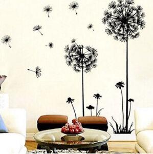 Mur-Noir-Dandelion-Decor-Stickers-Chambre-Art-peintures-murales-Home-Amovible-Fleur-decals
