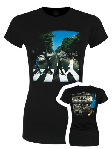 The Beatles Damen T-Shirt Vintage Abbey Road schwarz