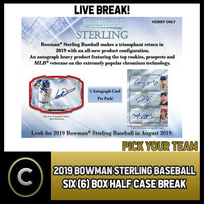 BREAK #A323 2019 BOWMAN BASEBALL 6 BOX HALF CASE PICK YOUR TEAM