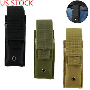 US Molle Single Magazine Pouch Tactical Pistol Mag Tools Pouch Flashlight Holder