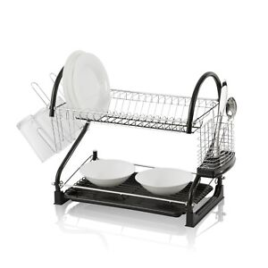 Stylish-Dish-Drying-Rack-2-Tier-Dish-Drainer-with-Drainboard-Cutlery-Cup
