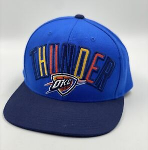 Mitchell and Ness Oklahoma City Thunder OKC blue hat cap snapback Spelled Out