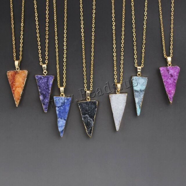 Natural Quartz Gemstone Triangle Pendant Druzy Necklace Healing Point Chain