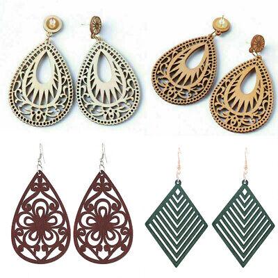 Women Teardrop Wood Drop Dangle Earrings Hollow Flower Hook Ethnic Jewelry