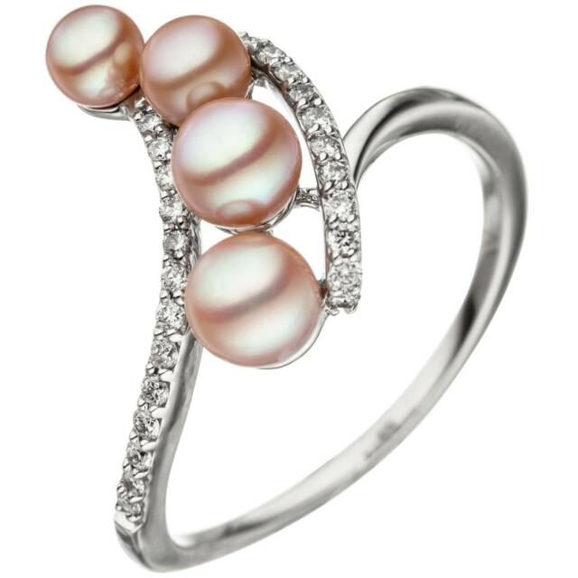 JOBO Damen Ring 58mm 585 Weißgold 4 Süßwasser Perlen rosa 24 Diamanten Brillante