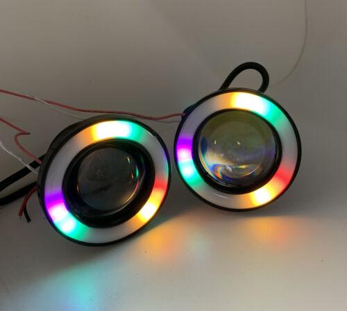 RGB colourchange Projector Cob LED Fog DRL Spot Lights Angel Eyes For Honda INTE