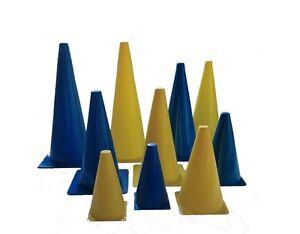 10er-Set-Markierkegel-blau-gelb-10-Kegel-Pylone-Pylonen-18-bis-45-cm