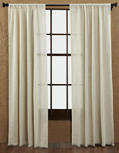 Image Is Loading Cloth Natural Window Panels Country Unlined Curtains